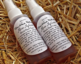 Rose-Infused Witch Hazel Toner - Natural Skincare, All-Natural Setting Spray, Natural Astringent, Acne, Spider Veins, Natural Products