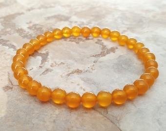 YELLOW AGATE stretchy healing bracelet 6mm stacking beaded bracelet, intention stretchy bracelet -  Protection & Balance