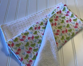 Set of 2 Baby Burp Cloths, Baby Girl, Colorful Birds, Pink and Green Dots, Terry Cloth Burp Cloth Set
