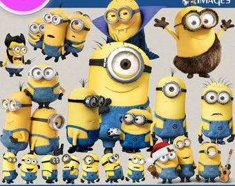 MINIONS clipart png images, Digital Cliparts, Graphic, Stickers, Decals, Png file, Transparent Backgrounds, digital print, printable images