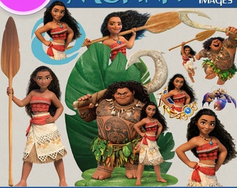 PRINCESS MOANA clipart png images, Digital Cliparts, Stickers, Decals, Png file, Transparent Backgrounds, digital print, printable images