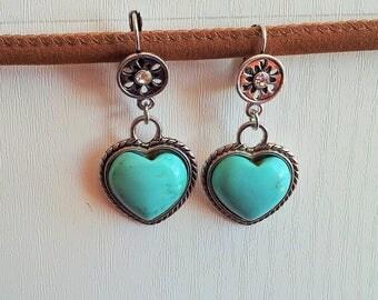 Earrings ' turquoise heart earrings