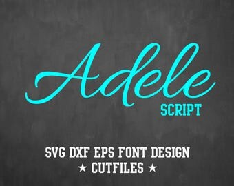 Adele Script Font Design | SVG DXF EPS Files for Cricut | Cuttable Alphabet Letters for Silhouette | AA6
