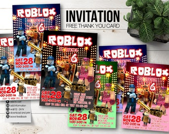 Roblox invitations Roblox party. Roblox birthday invitation. Roblox invite. Roblox Favors. Roblox printable. Roblox download. Roblox digital