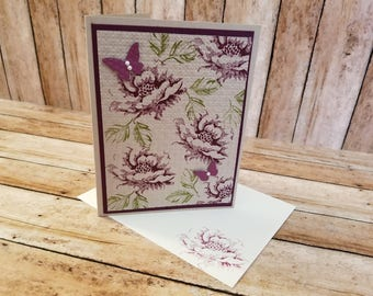 Purple Rose Birthday Card