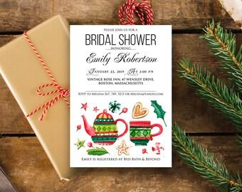 Bridal Tea Party Invitation Printable Christmas Bridal Invite Watercolor Tea Pot Cup Bridal Shower Invitation Editable Bridal Brunch Invite