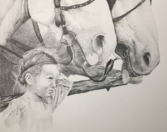 Pencil Drawing Print, Girl, Horse,Holding the Team