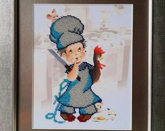 """Picture beaded """" The Little Cook"""", Framed picture, Child, Kitchen"""