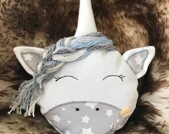 Lola Unicorn in grey White plush animal soft with cotton wool ca. 33inch Large