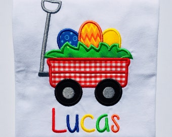 Easter Egg Wagon Embroidered Bodysuit or T-Shirt-Boys
