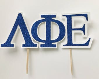 CUSTOMIZABLE Greek Alphabet cake toppers - fraternity toppers -  sorority toppers -  rush party -decorations - greek party - 12 CT