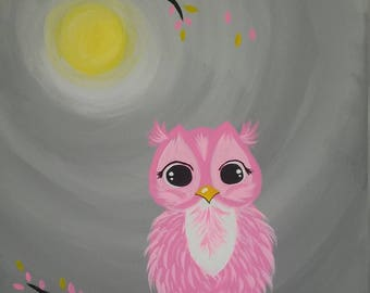 Pink owl painting
