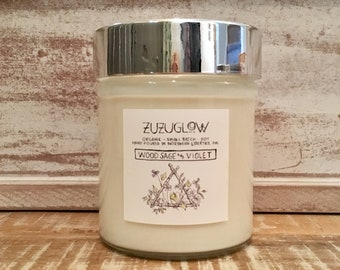 Wood Sage and Violet 12 oz Candle by ZuZuGlow Candle