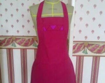 Pink cotton canvas apron dress