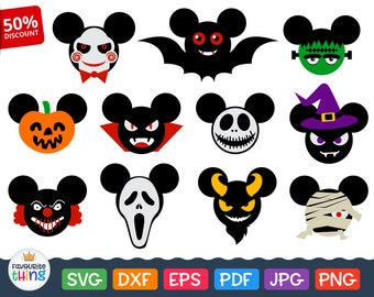 Scary Disney Svg Halloween Mickey Mouse Head Svg Saw Mask, Mummy, Ghostface, Frankenstein, Witch Hat, Dracula, Skellington, Pumpkin cut file