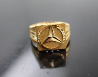 22k Jewelry Solid Gold Elegant Men Ring Tri Design