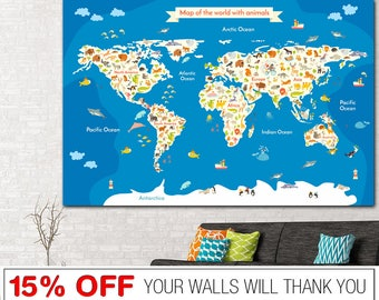 Nursery world map etsy world map nursery world map word map canvas world map print kids sciox Choice Image