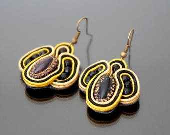 Black and yellow soutache earrings.
