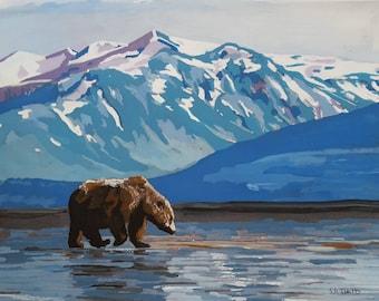 Alaska, 8x10 acrylic print. Perfect for the nursery or man cave. Animal print, Grizzly,