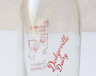 Glass Milk Bottle with Vintage Advertising, fun graphics