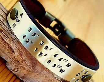 Coordinate Engraved Men Bracelet Leather Bracelet Man Leather Bracelet Personalized Leather Bracelet Unisex Anniversary gift