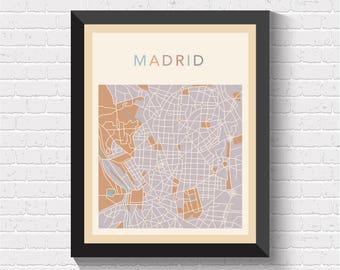 Madrid Map, Madrid Poster, Madrid Print, Madrid Street Map, Madrid City Map, Madrid Art, Madrid, Spain Art, Spain Print, Spain