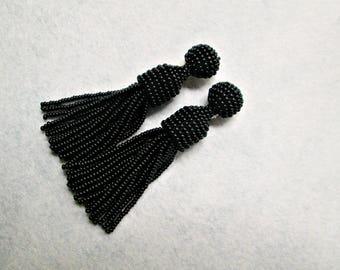 Black color/ oscar de la renta/ clip on earrings/ beaded tassel/ stud earring/ beading dangle/ handmade/ Unique Gift