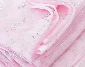Destash 300x160cm shiny sequin silver soft pink tulle fabric