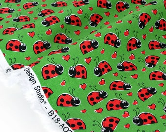 American fabric smiling ladybugs green x 50cm