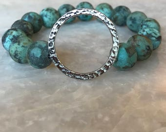 African Turquoise and Sterling Silver Bracelet