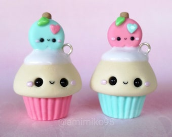 Kawaii Cupcake Charm - Kawaii Apple Cupcake - Kawaii Apple Cupcake Charm - Polymer Clay Charm - Kawaii Jewelry - Kawaii Foodie - Miniature