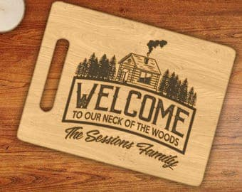 Personalized Vacation Rental Guest Welcome Display, Custom Family Name Engraved Cutting Board
