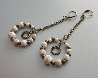 Long Dangle Earrings. Hoop Earrings. Bronze Bohemian Earrings. Gemstone Hoop Earrings. White Howlite Earrings. Circle Earrings. Boho Earring