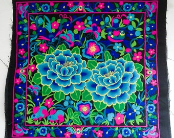 Blue Flowers  Embroidered Hmong Fabric, Hmong Hill Tribe Embroidered, Thai Hill Tribe, Hmong Textile, Hill Tribe Handmade.