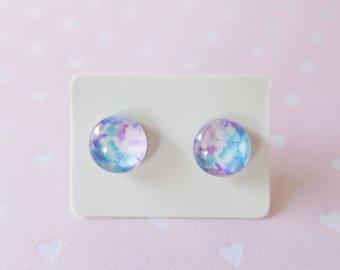 Blue and Pink Watercolour Earrings 10mm Glass Stud Earrings FREE SHIPPING WORLDWIDE