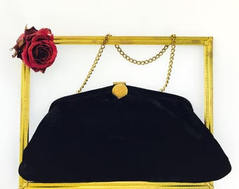 Vintage Admiral Black Velvet Bag with Juliart Clasp and Gold Chain Strap