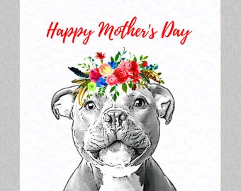 Staffordshire Bull Terrier Mother's Day Card - Staffie Staffy Mother's Day Card