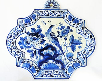 Vintage Delfts Blue Porcelain Plate from The Porceleyne Fles, with Beautiful Decor of Flowers and a Peacock from 1922