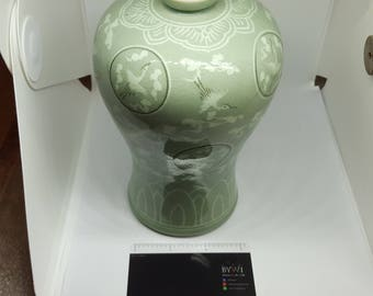 Porcelain Bottles Celadon Korean Traditional Technique