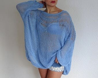 slouchy loose knit sweater, oversized sweater, knit slouchy sweater, loose knit, summer sweater, boho chic, cotton sweater, made to order