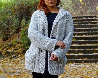 knit cardigan, bulky cardigan, off white, hand knit, womens cardigan, knit coat, knit sweater, knit jacket, tweedy, wool, made to order