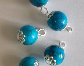 5 pendants 10mm blue/black glass beads