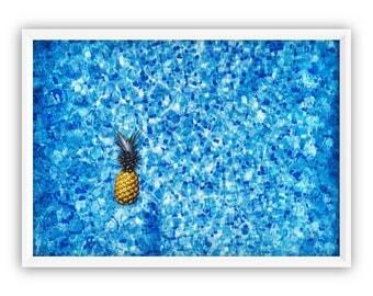 Pineapple Art Print, Pool Pineapple, Digital Prints, Best selling items, Gold Pineapple, Wall Print Pineapple, Tropical Print, Pineapple