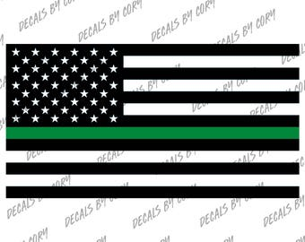 United States Thin Green Line Flag FED Federal Border Patrol Park Ranger Game Warden US USA America