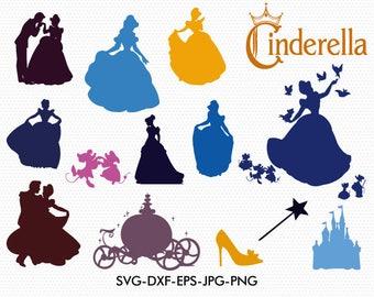 cinderella silhouettes svg disney princess cinderella silhouette clipart eps png jpg files disney svg