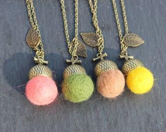 Felt Acorn Necklace Fashion Jewelry Acorn made of felt BOHO