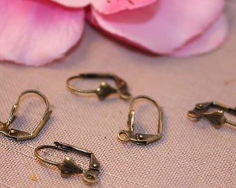 1 pair earring brackets bronze 17 x 10 mm