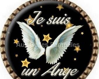 "Bronze round Cabochon pendant 25 mm epoxy resin - ""I'm an Angel"" (976)"