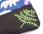 Hand Embroidered Clutch Purse - Dinosaurs - clutch purse makeup bag travel pouch toiletry bag embroidery pencil case handbag