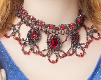Necklace Flamenco, Beads lace necklace red-black colors.